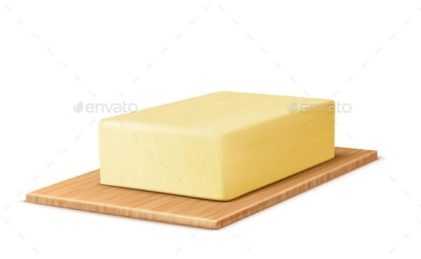Vector Realistic Stick of Butter on Cutting Board