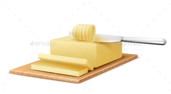 Vector Yellow Stick of Butter with Metal Knife