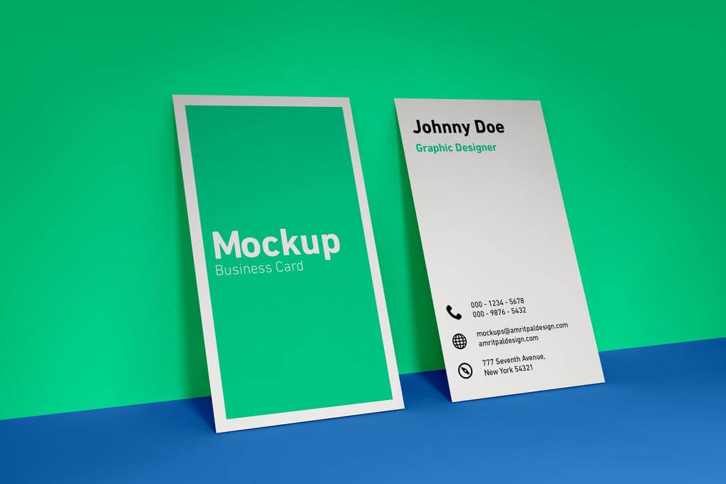 Vertical Business Card Wall Mockup