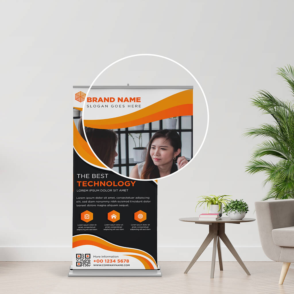 Close UP Of a Free Rollup Banner Mockup PSD Template