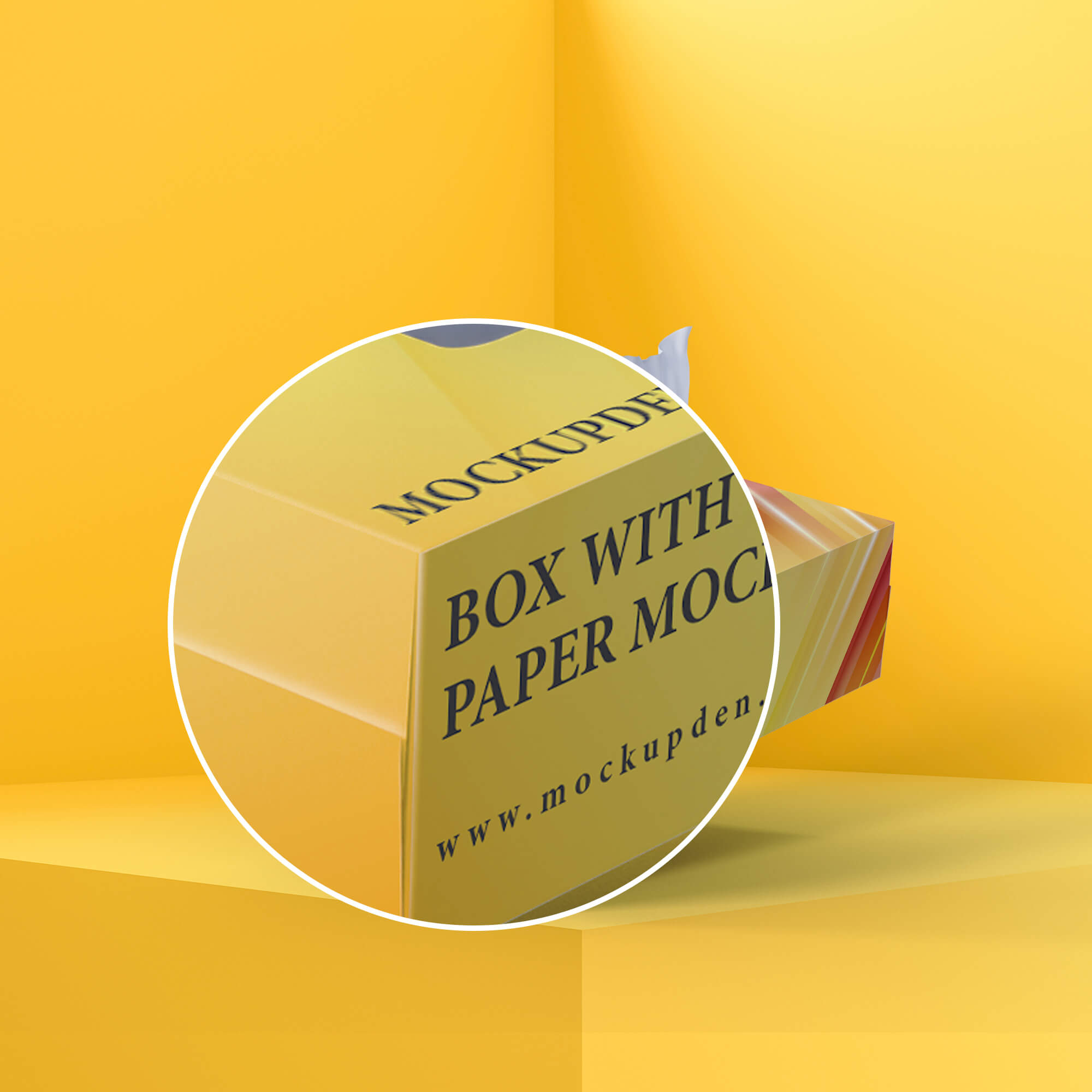 Close Up Of a Free Box With Tissue Paper Mockup PSD Template