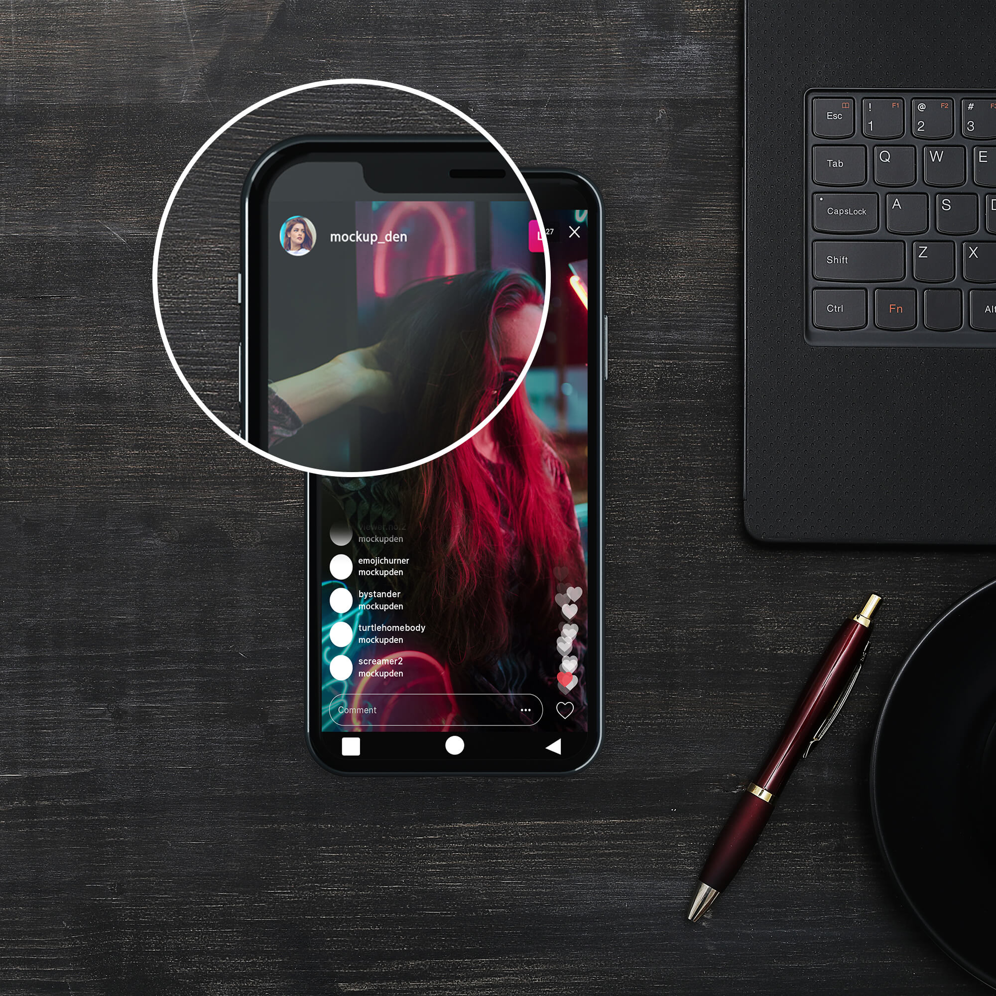 Close Up Of a Free Instagram Live Mockup PSD Template (1)