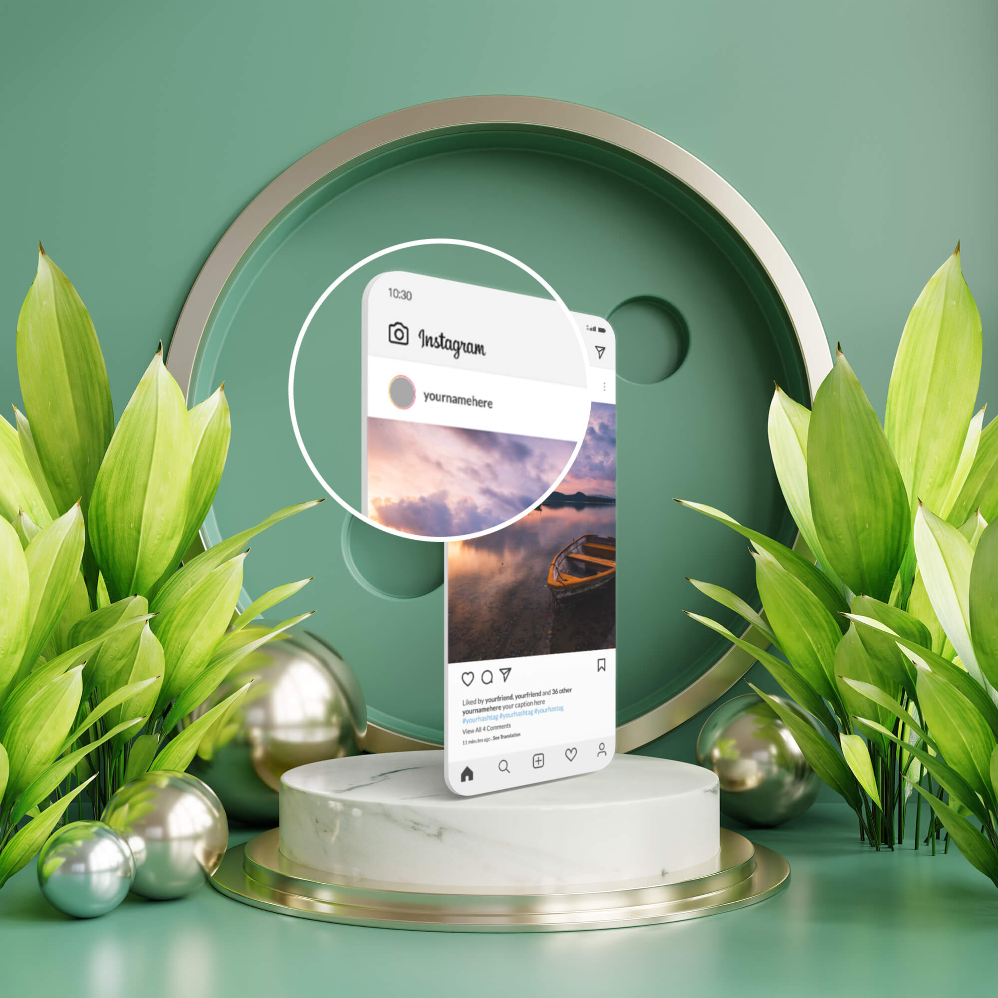Close Up Of a Free Instagram Post Mockup 3D PSD Template
