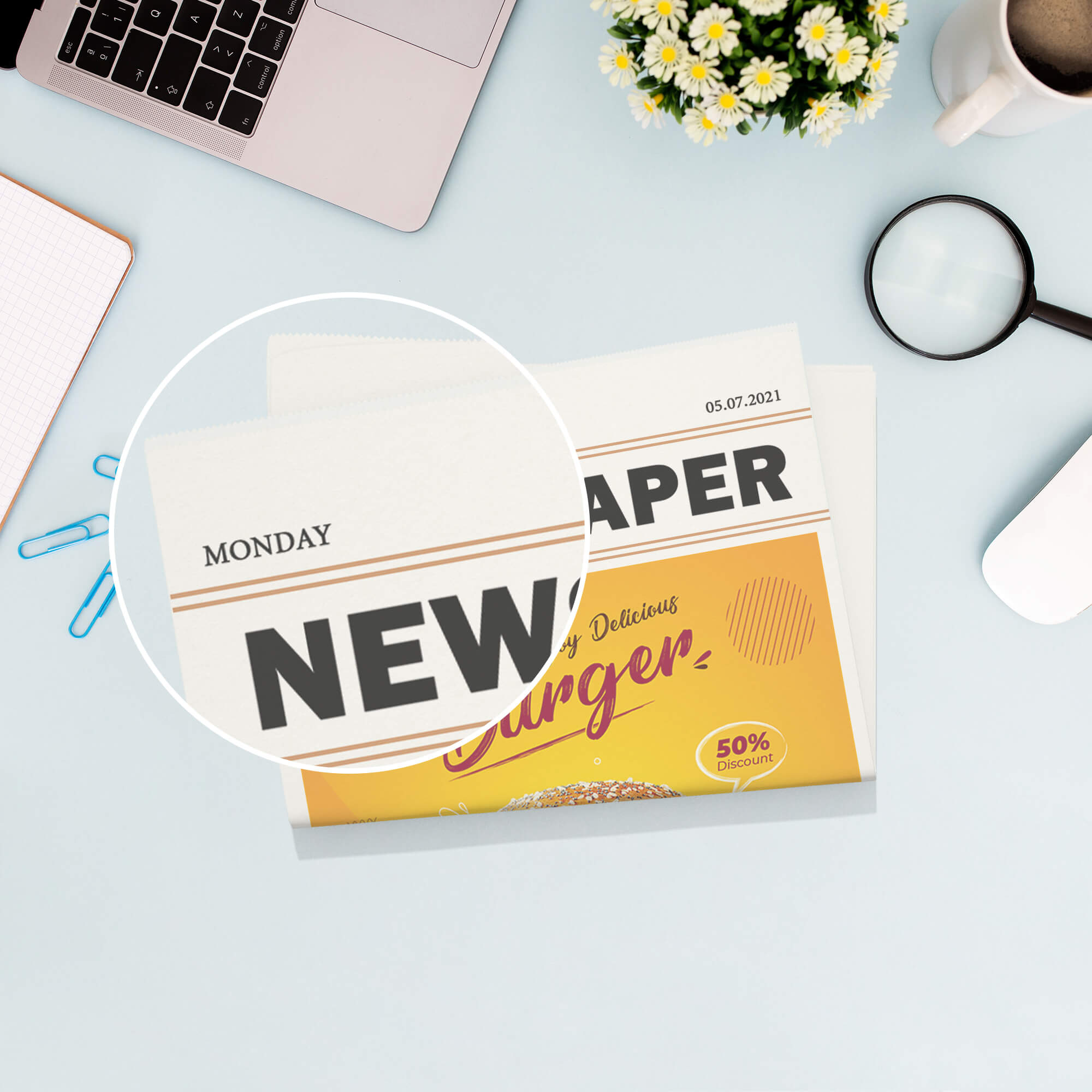 Close Up Of a Free Newspaper Advertisement Mockup PSD Template (1)