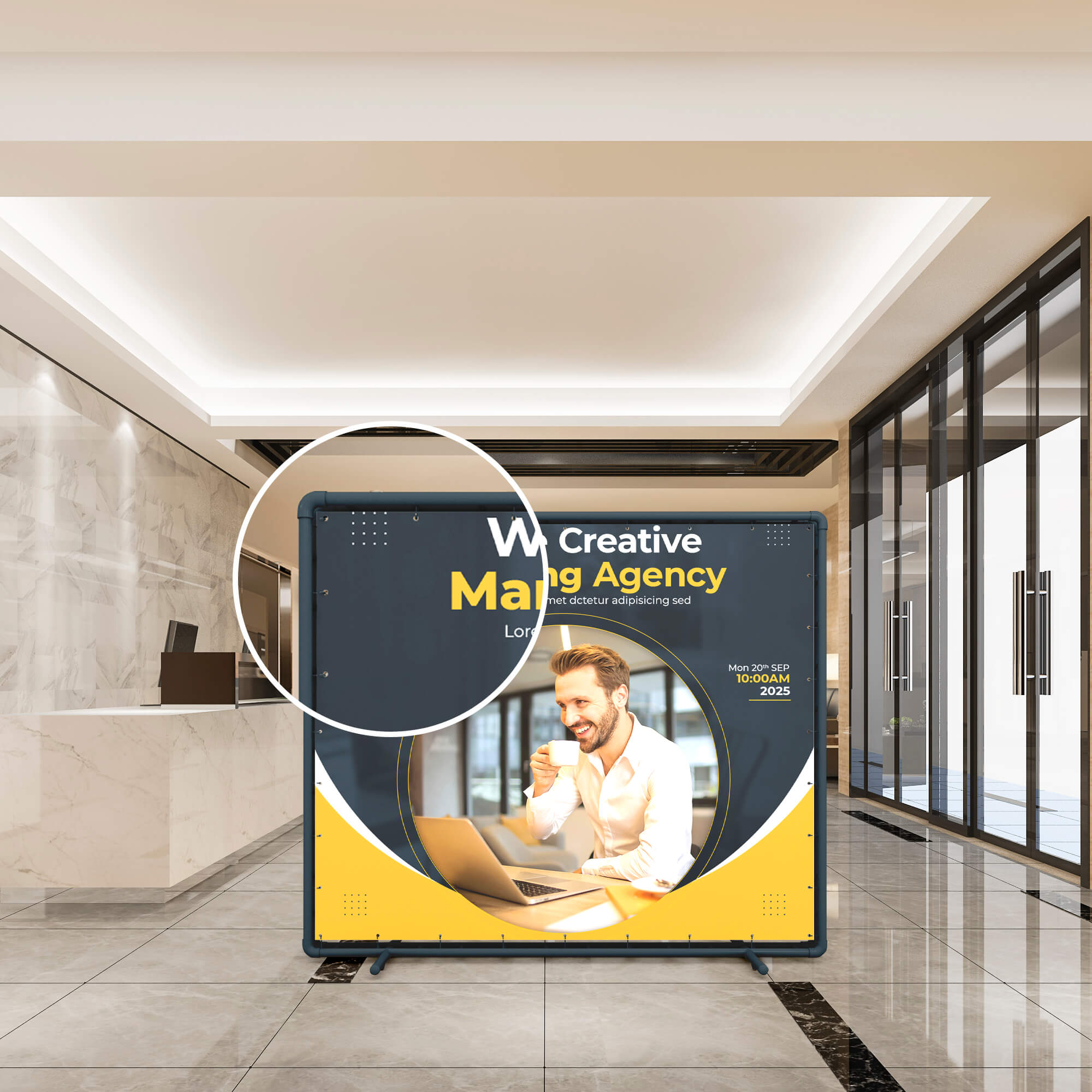 Close Up Of as Free Pvc Banner Mockup PSD Template