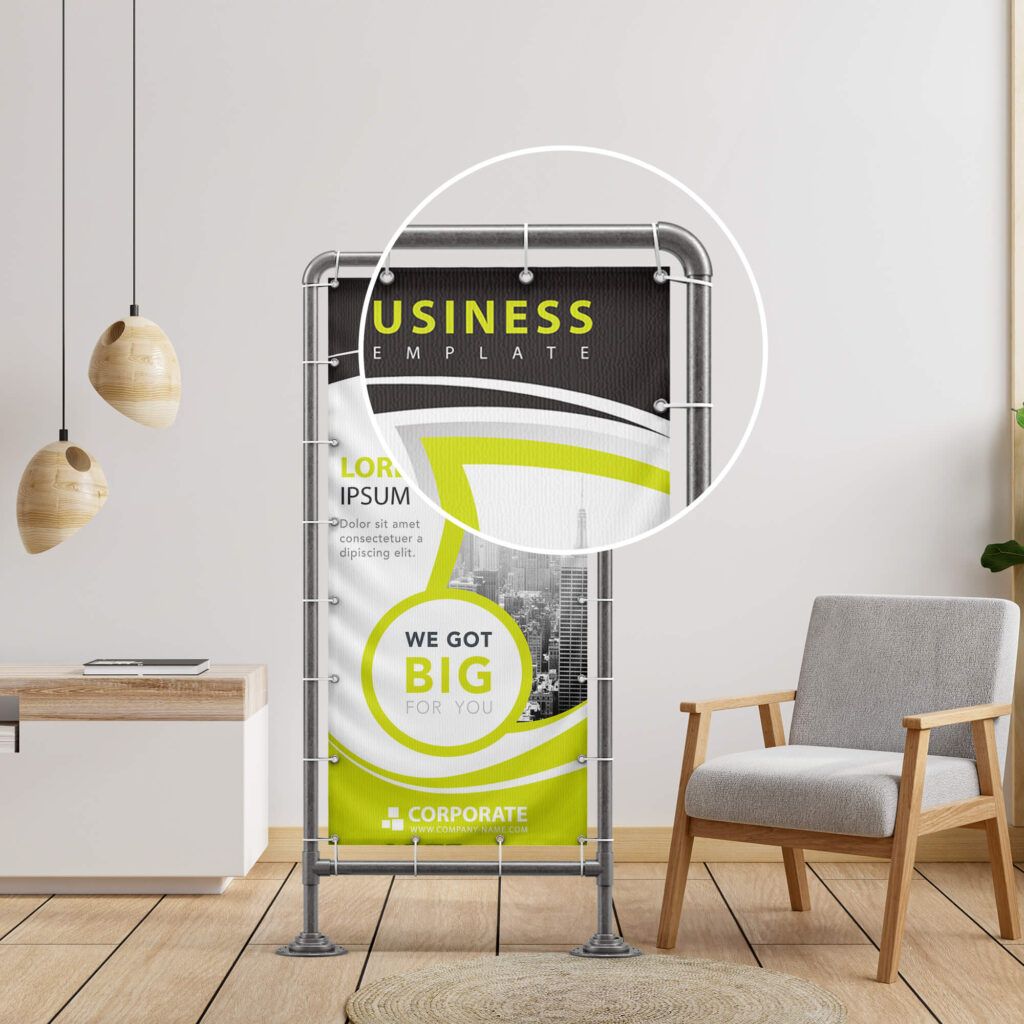 Close Up of a Free Stand Banner Mockup PSD Template (2)