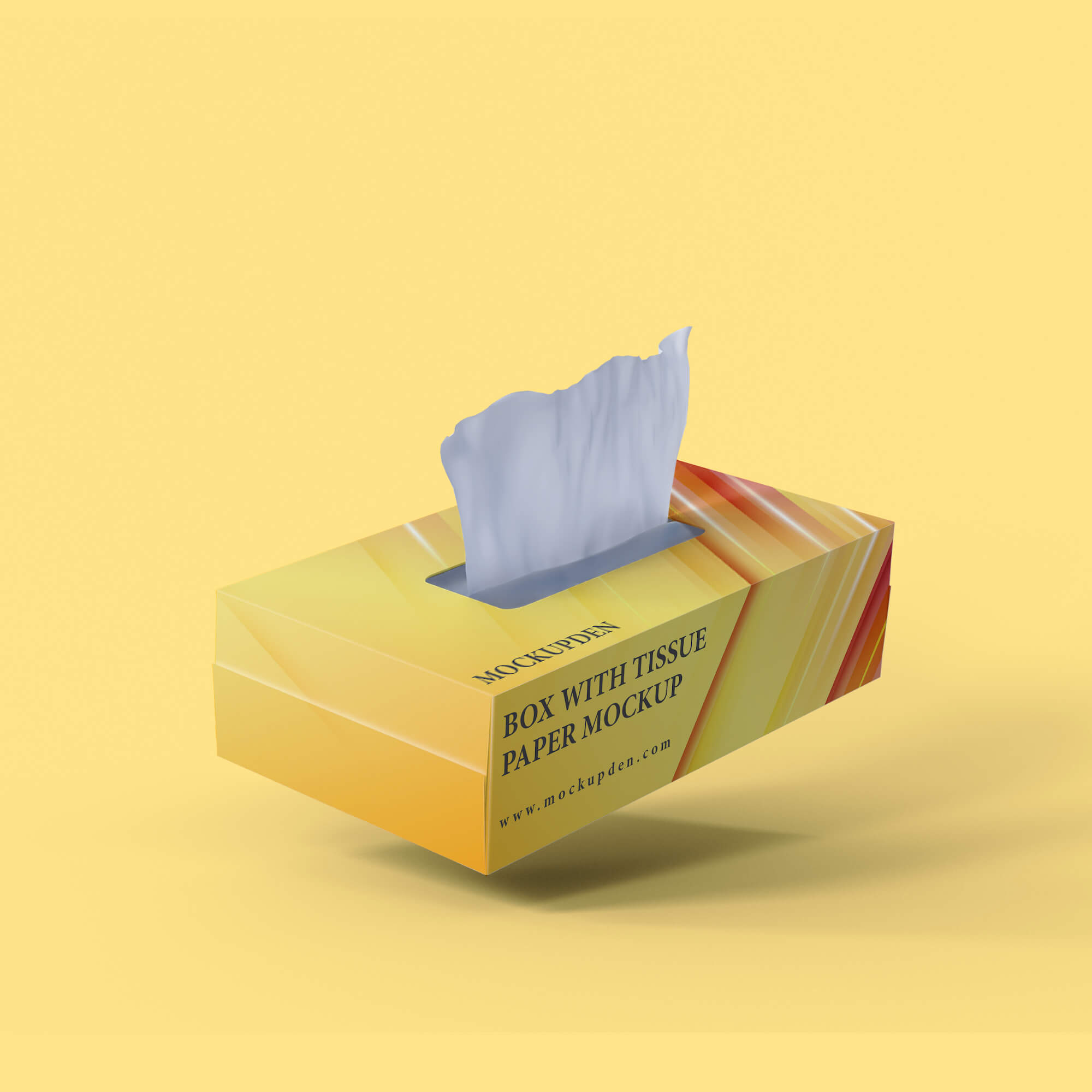 Design Free Box With Tissue Paper Mockup PSD Template