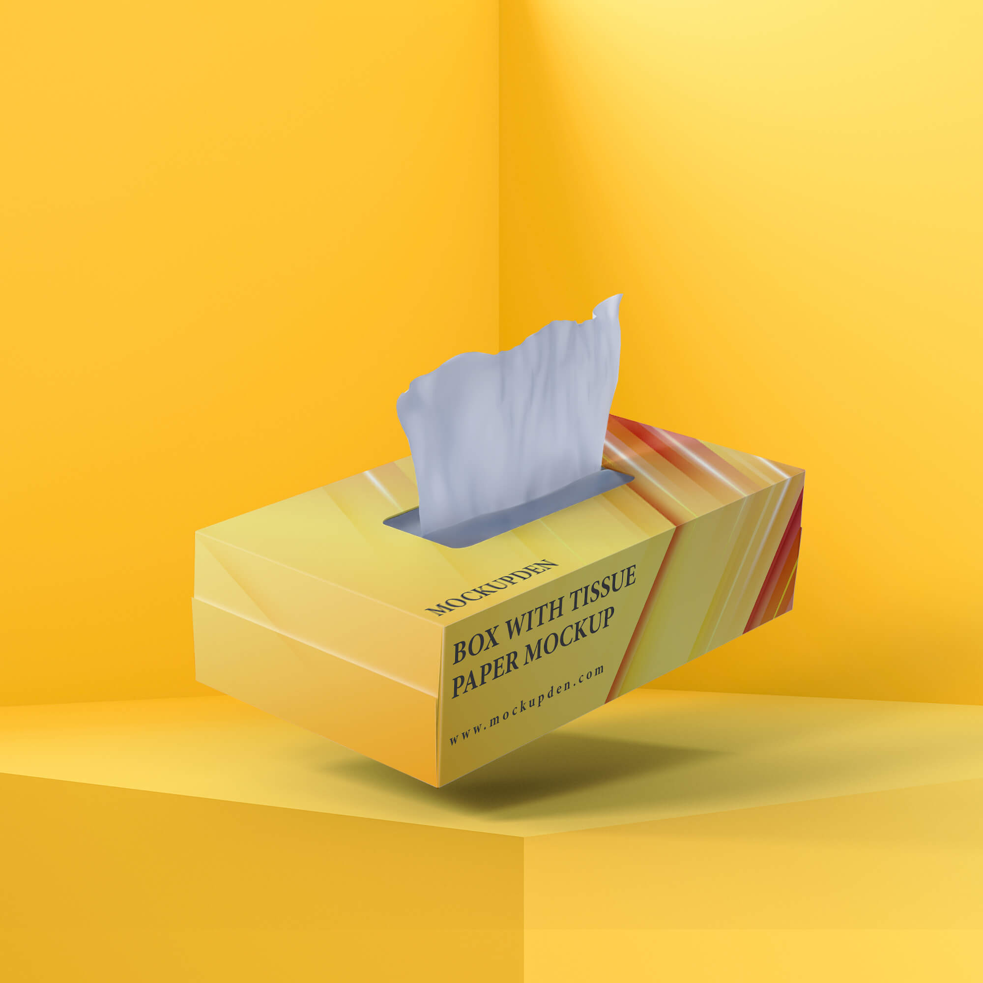 Free Box With Tissue Paper Mockup PSD Template