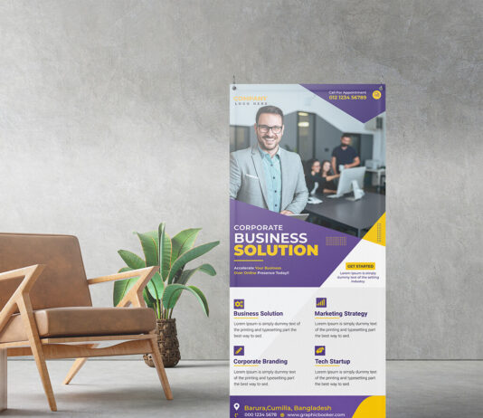 Free Standing Banner Mockup PSD Template