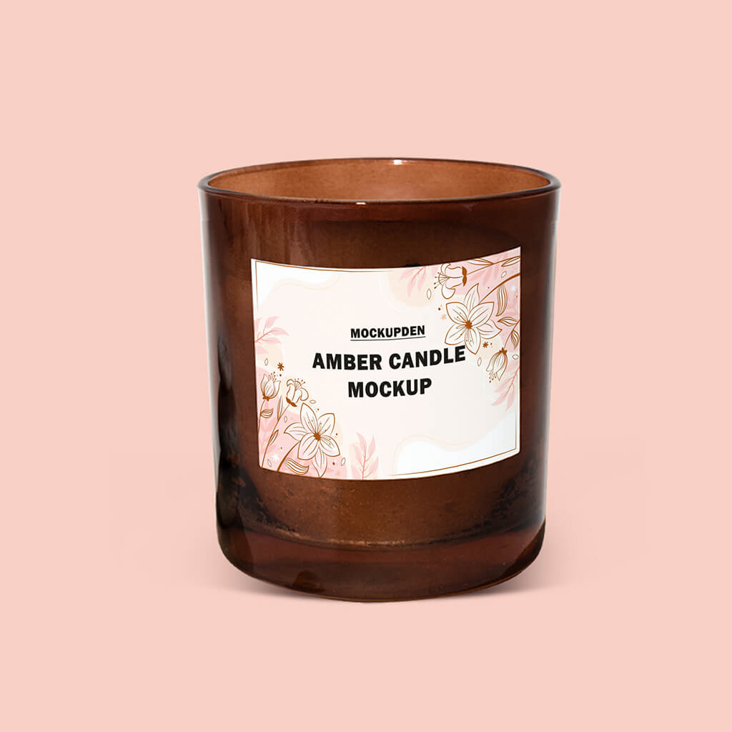 Design Free Amber Candle Mockup PSD Template