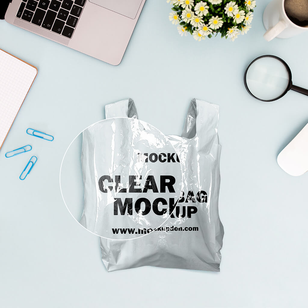Close Up Of a Free Clear Bag Mockup PSD Template