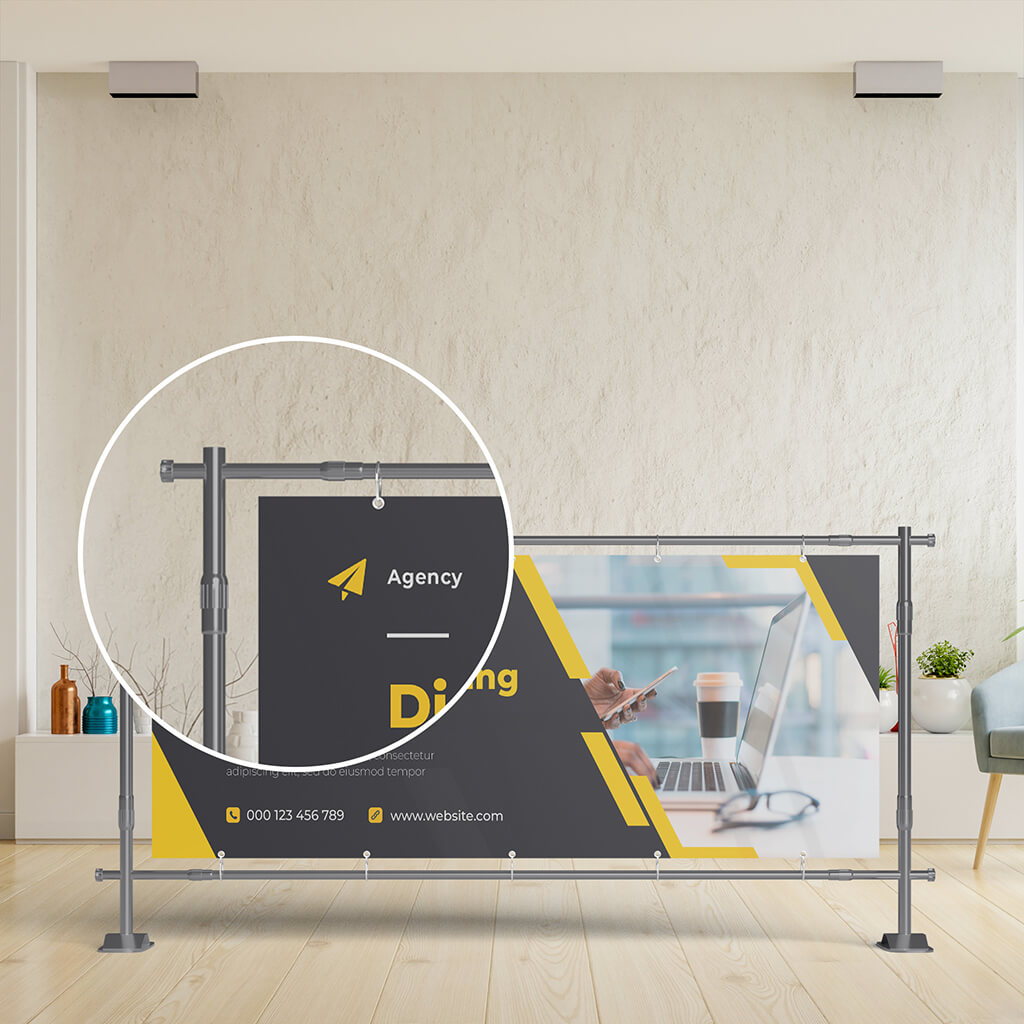 Close Up Of a Free PVC Banner Mockup PSD Template